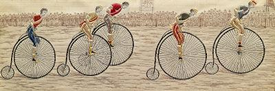 The Last Lap, Penny Farthing Race Woven Silk Stevengraph, by Thomas Stevens of Coventry, 1872--Giclee Print