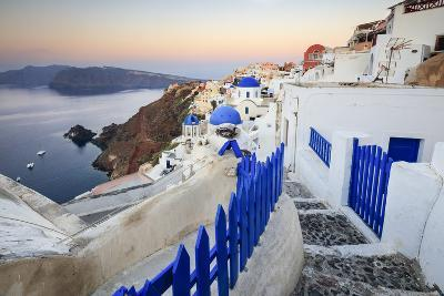 The Last Light of Dusk over the Aegean Sea Seen from the Typical Village of Oia, Santorini-Roberto Moiola-Photographic Print