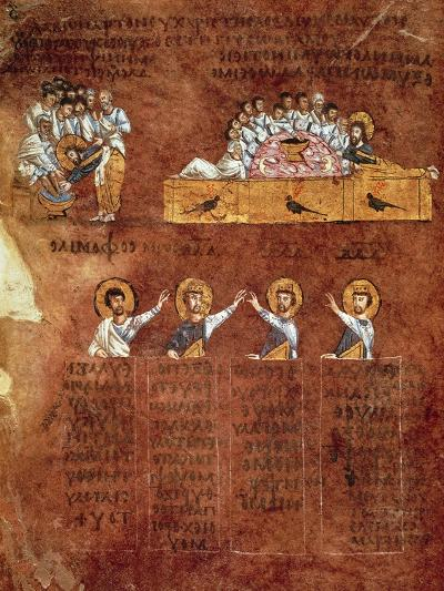 The Last Supper and the Washing of Feet, Miniature from the Rossano Gospels--Giclee Print