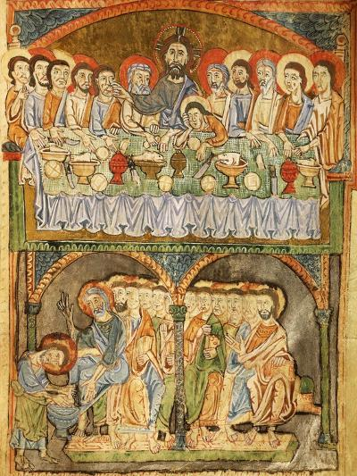 The Last Supper and Washing of Feet, Miniature from the Gospel of the Great Festivals--Giclee Print