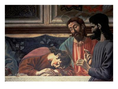 The Last Supper, Detail of Judas, Christ and St. John, 1447 (Fresco) (Detail of 85172)-Andrea Del Castagno-Giclee Print