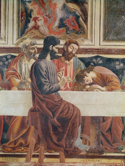 The Last Supper, Detail of Saint John, Saint Peter, Jesus and Judas, 1477-Andrea Del Castagno-Giclee Print