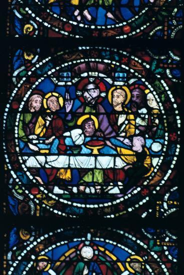 The Last Supper, Stained Glass, Chartres Cathedral, France, 1205-1215--Photographic Print