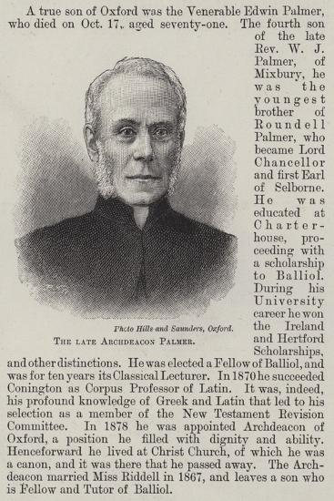 The Late Archdeacon Palmer--Giclee Print