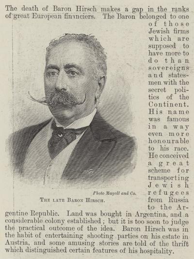 The Late Baron Hirsch--Giclee Print