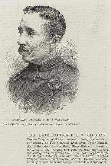 The Late Captain E B T Vaughan, 6th Punjaub Infantry, Murdered by Dacoits in Burmah--Giclee Print