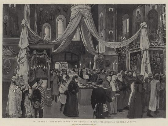 The Late Czar Alexander III Lying in State at the Cathedral of St Michael the Archangel-Amedee Forestier-Giclee Print