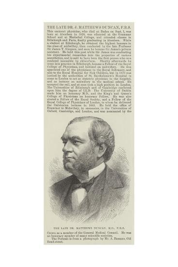 The Late Dr Matthews Duncan--Giclee Print