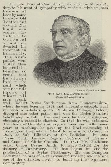 The Late Dr Payne Smith, Dean of Canterbury--Giclee Print