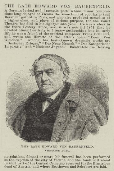 The Late Edward Von Bauernfeld, Viennese Poet--Giclee Print