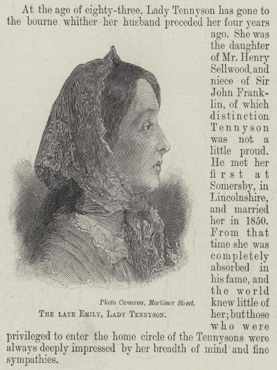 The Late Emily, Lady Tennyson--Giclee Print
