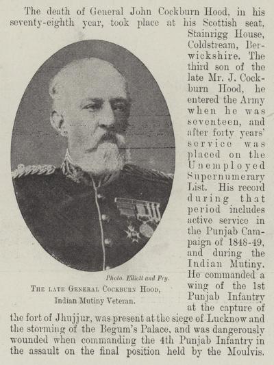 The Late General Cockburn Hood, Indian Mutiny Veteran--Giclee Print