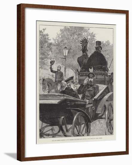 The Late German Emperor in His Carriage, with the Crown Prince, in the Unter Den Linden, Berlin-Richard Caton Woodville II-Framed Giclee Print