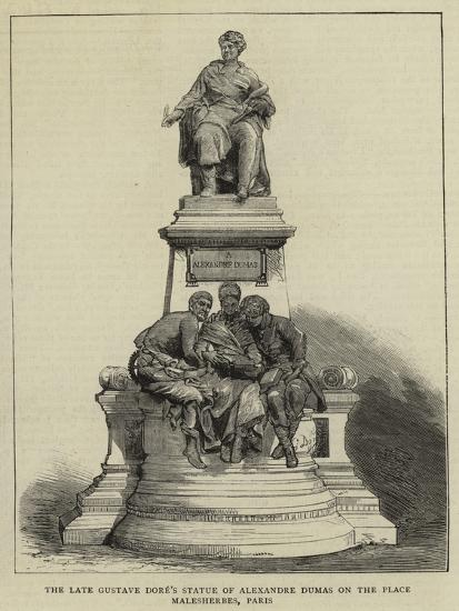 The Late Gustave Dore's Statue of Alexandre Dumas on the Place Malesherbes, Paris--Giclee Print