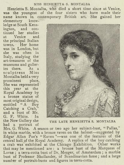 The Late Henrietta S Montalba--Giclee Print
