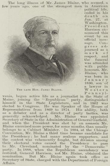 The Late Honourable James Blaine--Giclee Print