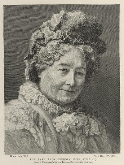 The Late Lady Gregory, Mrs Stirling--Giclee Print