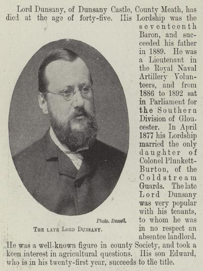 The Late Lord Dunsany--Giclee Print