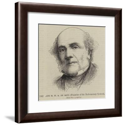 The Late M F a De Metz, Founder of the Reformatory System--Framed Giclee Print