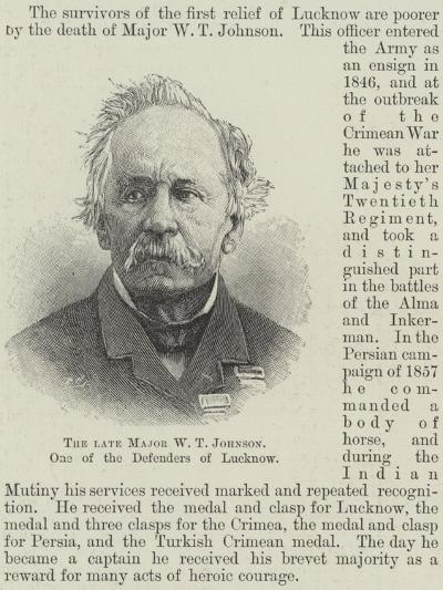 The Late Major W T Johnson, One of the Defenders of Lucknow--Giclee Print