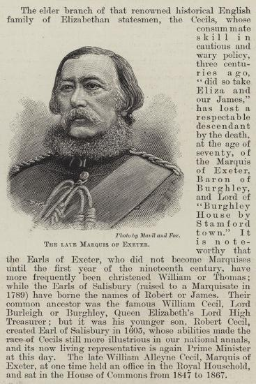The Late Marquis of Exeter--Giclee Print