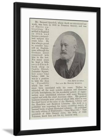 The Late Mr Bernard Quaritch--Framed Giclee Print