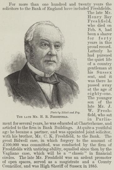 The Late Mr H R Freshfield--Giclee Print
