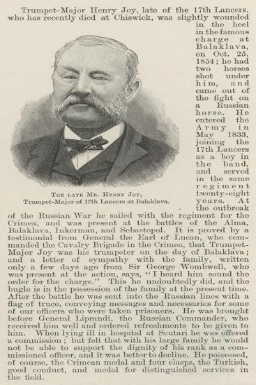 The Late Mr Henry Joy, Trumpet-Major of 17th Lancers at Balaklava--Giclee Print