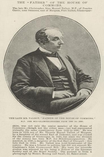 The Late Mr Talbot, Father of the House of Commons, Mp for Mid-Glamorganshire from 1830 to 1890--Giclee Print