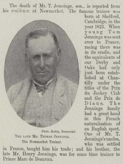 The Late Mr Thomas Jennings, the Newmarket Trainer--Giclee Print