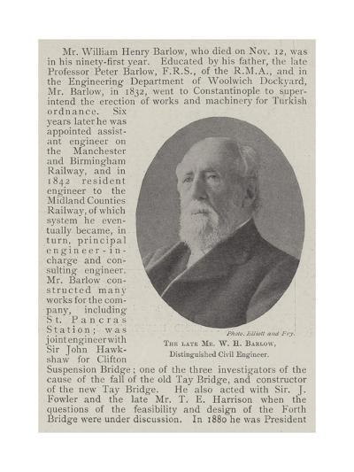 The Late Mr W H Barlow, Distinguished Civil Engineer--Giclee Print