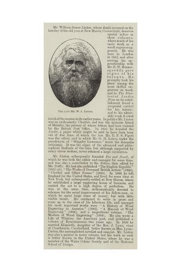 The Late Mr W J Linton--Giclee Print