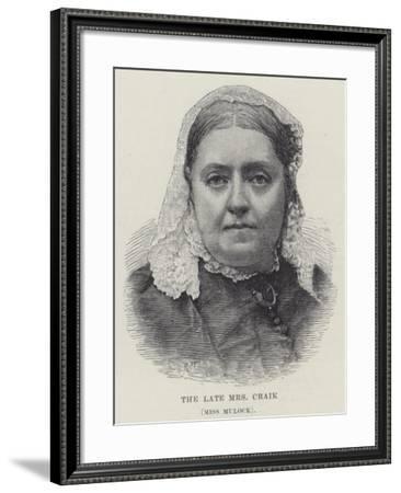 The Late Mrs Craik, Miss Mulock--Framed Giclee Print