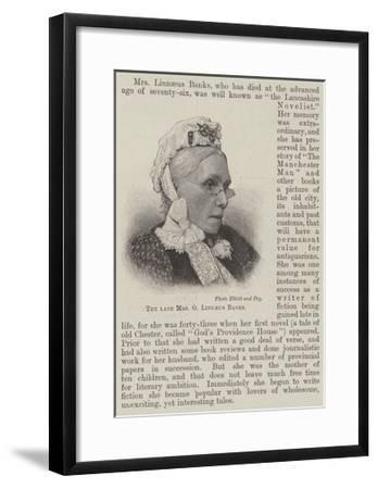 The Late Mrs G Linnaeus Banks--Framed Giclee Print