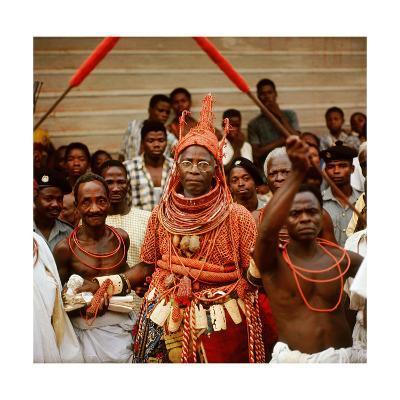 The Late Oba Akenzua II in Full Regalia, Including a Coral Garment and Headpiece--Giclee Print