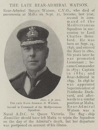 The Late Rear-Admiral B Watson, Second in Command of the Mediterranean Squadron--Giclee Print