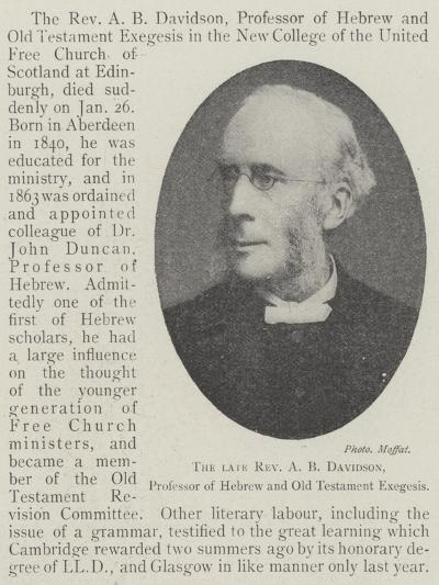The Late Reverend a B Davidson, Professor of Hebrew and Old Testament Exegesis--Giclee Print