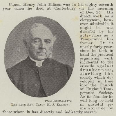 The Late Reverend Canon H J Ellison--Giclee Print