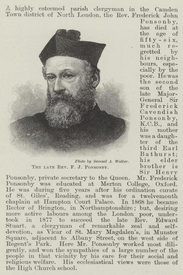 The Late Reverend F J Ponsonby--Giclee Print