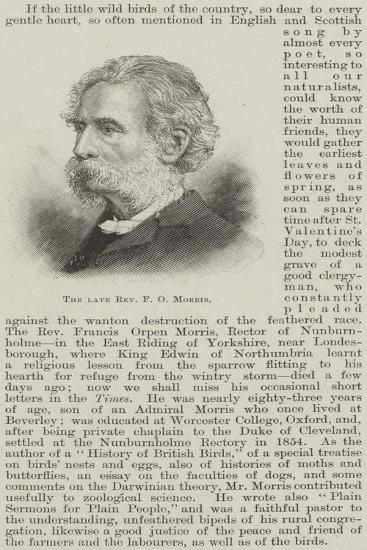 The Late Reverend F O Morris--Giclee Print