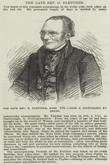 The Late Reverend G Fletcher--Giclee Print