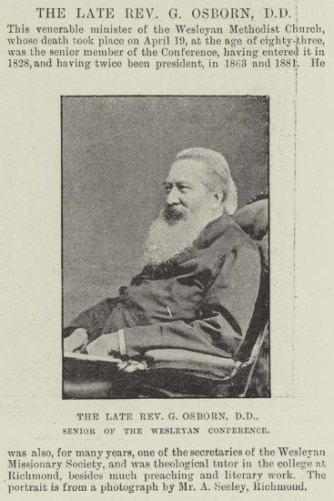 The Late Reverend G Osborn, Senior of the Wesleyan Conference--Giclee Print