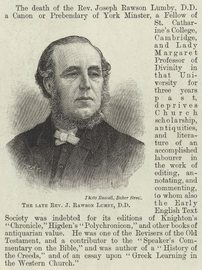 The Late Reverend J Rawson Lumby--Giclee Print