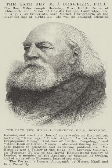 The Late Reverend Miles J Berkeley, Frs, Botanist--Giclee Print
