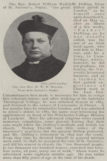 The Late Reverend R W R Dolling, Vicar of St Saviour'S, Poplar--Giclee Print