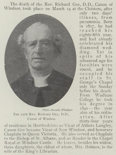 The Late Reverend Richard Gee, Dd, Canon of Windsor--Giclee Print