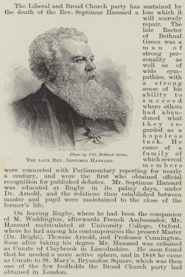 The Late Reverend Septimus Hansard--Giclee Print