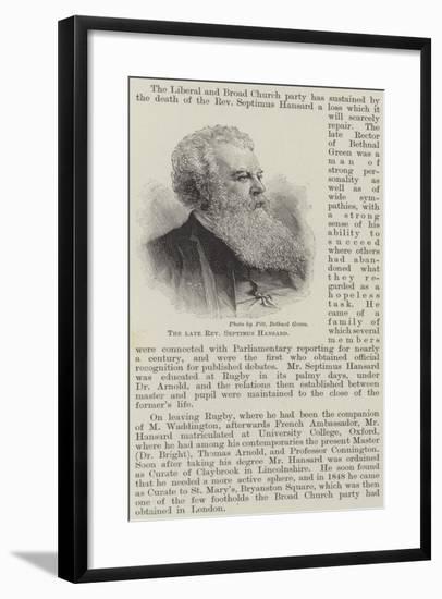 The Late Reverend Septimus Hansard--Framed Giclee Print