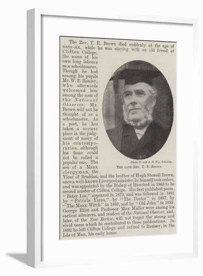 The Late Reverend T E Brown--Framed Giclee Print