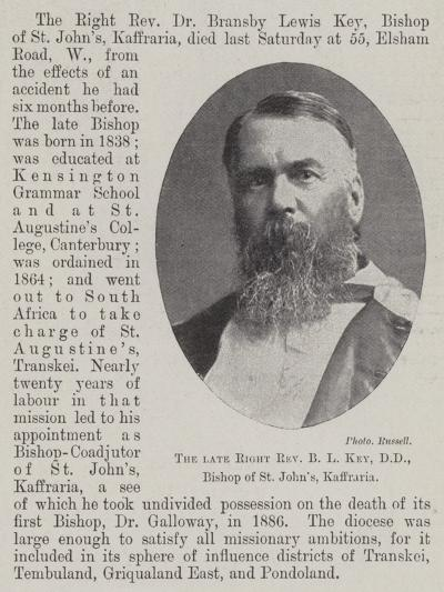 The Late Right Reverend B L Key, Dd, Bishop of St John'S, Kaffraria--Giclee Print